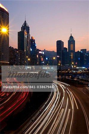 City skyline with IFC Tower at dusk, Hong Kong, China, Asia