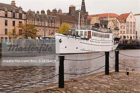 New and old waterside buildings, Leith, Edinburgh, Scotland, United Kingdom, Europe