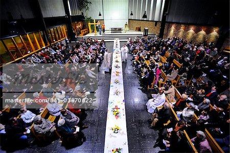 Maundy Thursday table in church, Paris, France, Europe