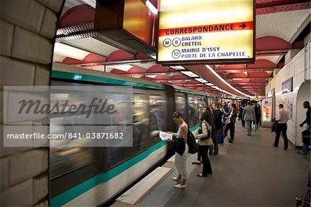 Metro underground train coming into station, Paris, France, Europe