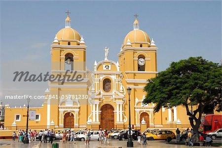 Main square and cathedral, Trujillo, Peru, South America
