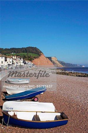 Boats on Sidmouth Beach, Devon, England, United Kingdom, Europe