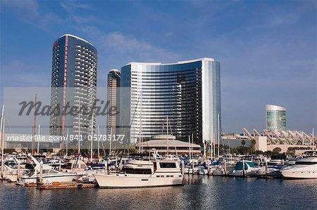 Marina and city skyline, San Diego, California, United States of America, North America