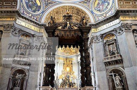 Interior of St. Peter's Basilica, Piazza San Pietro (St. Peter's Square), Vatican City, Rome, Lazio, Italy, Europe