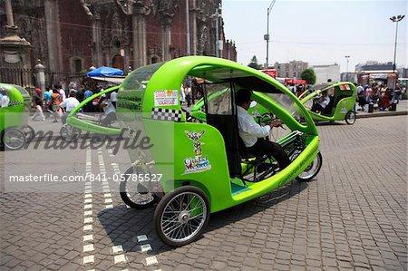 Eco-friendly cycle rickshaws, Zocalo, Plaza de la Constitucion, Mexico City, Mexico, North America