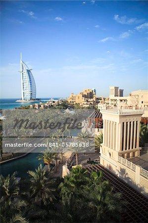 Burj Al Arab seen from the Madinat Jumeirah Hotel, Jumeirah Beach, Dubai, United Arab Emirates, Middle East