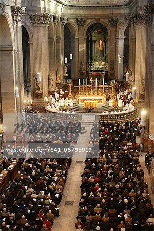 Catholic mass. St. Sulpice church, Paris, France, Europe