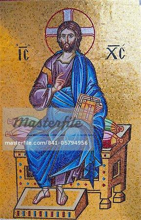 Jesus wall painting in the Kykkos monastery, UNESCO World Heritage Site, Troodos Mountains, Cyprus, Europe