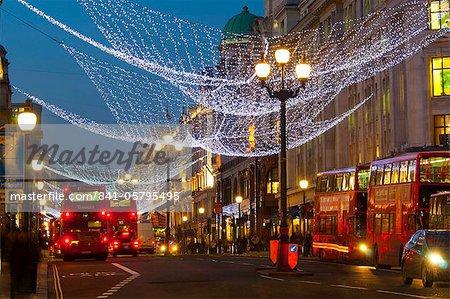 Christmas lights, Regents Street, London, England, United Kingdom, Europe