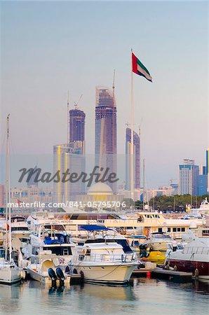 City skyline from Abu Dhabi International Marine Sports Club, Abu Dhabi, United Arab Emirates, Middle East
