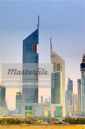 Sheikh Zayed Road and Emirates Towers, Dubai, United Arab Emirates, Middle East