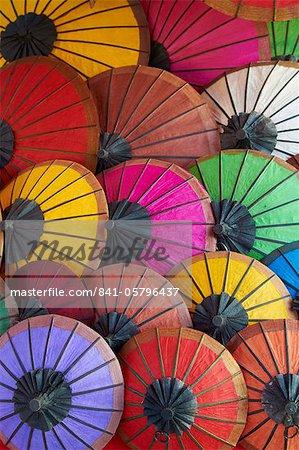 Handmade paper umbrellas in the night market, Luang Prabang, Laos, Indochina, Southeast Asia, Asia