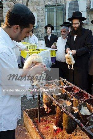 Kaparot ritual in Mea Shearim neighbourhood, Jerusalem, Israel, Middle East