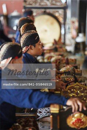 Members of gamelan inside Kraton (Palace of Sultans), Yogyakarta, Java, Indonesia, Southeast Asia, Asia