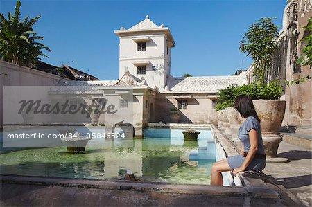 Woman at Taman Sari (Water Castle), Yogyakarta, Java, Indonesia, Southeast Asia, Asia