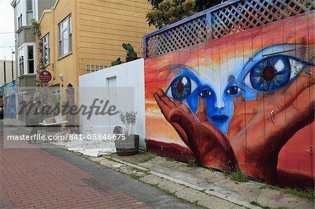Murals, Balmy Alley, Mission District, Mission, San Francisco, California, United States of America, North America