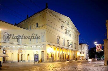 Regio Theatre at night, Parma, Emilia Romagna, Italy, Europe