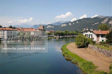 Brivio and River, Lake Como, Lombardy, Italian Lakes, Italy, Europe