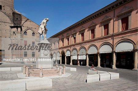 Statue and cathedral, Piazza Galvani, Bologna, Emilia Romagna, Italy, Europe