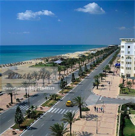 View along beach front from roof of Lella Baya Hotel, Yasmine Hammamet, Cap Bon, Tunisia, North Africa, Africa
