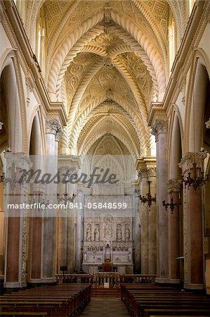 Interior of the Duomo, Erice, Sicily, Italy, Europe