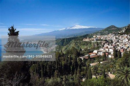 View over Taormina and Mount Etna, Taormina, Sicily, Italy, Mediterranean, Europe