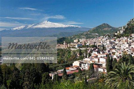 View over Taormina and Mount Etna, Taormina, Sicily, Italy, Europe