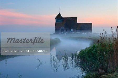 Fairfield church in dawn mist, Romney Marsh, near Rye, Kent, England, United Kingdom, Europe