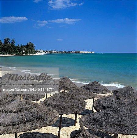 View along beach to the medina from the Sindbad Hotel, Hammamet, Cap Bon, Tunisia, North Africa, Africa