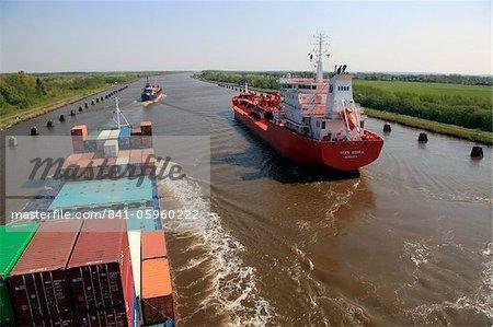 Shipping near Brunsbuttel, Kiel Canal, Schleswig-Holstein, Germany, Europe