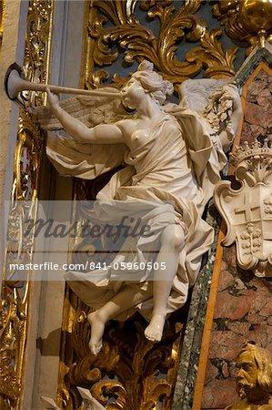 Marble angel in St. John's CoCathedral. Valletta. Malta. Europe
