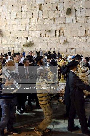 Simhat Torah Jewish Festival, Western Wall, Old City, Jerusalem, Israel, Middle East