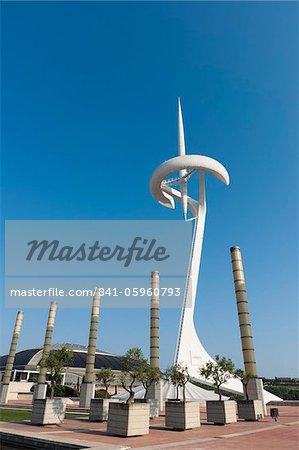 Telefonoca Tower by architect Santiago Calatrava, Montjuic, Barcelona, Catalonia, Spain, Europe