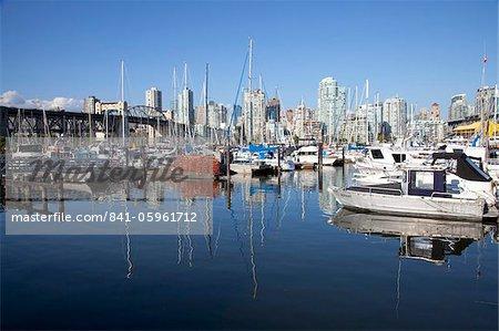 Yachts moored in False Creek at Granville Island with Burrard Bridge, Vancouver, British Columbia, Canada, North America