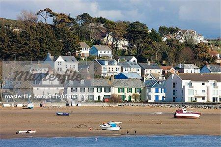 Devon village of Instow from across the water, Devon, England, United Kingdom, Europe