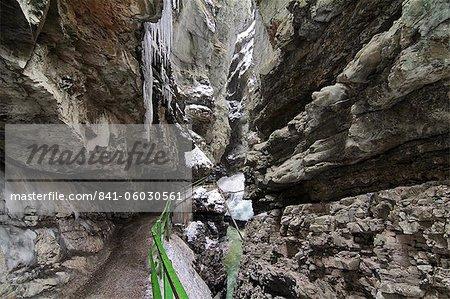 Canyon Breitachklamm in winter, Oberstdorf, Allgau Alps, Bavaria, Germany, Europe