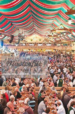 Beer hall at the Stuttgart Beer Festival, Cannstatter Wasen, Stuttgart, Baden-Wurttemberg, Germany, Europe