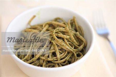 Italian food, of pasta dish of trenette al pesto, Italy, Europe
