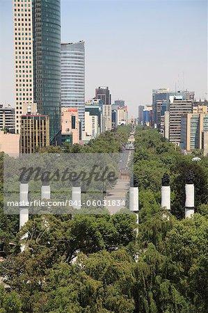 View of Paseo de la Reforma, Monumento a los Ninos Heroes, skyline, park, Chapultepec Hill, Chapultepec, Mexico City, Mexico, North America