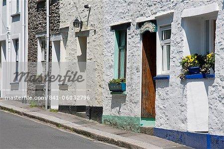 Traditional houses on a back street in Fowey, Cornwall, England, United Kingdom, Europe