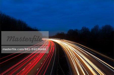 M6 Motorway at dusk near Juntion13, Staffordshire, England, United Kingdom, Europe