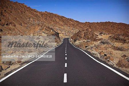Road in El Teide National Park, UNESCO World Heritage Site, Tenerife, Canary Islands, Spain, Europe
