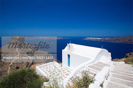Church at Imerovigli, Santorini, Cyclades, Greek Islands, Greece, Europe