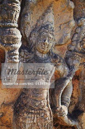 Guardstone at Hatadage, Quadrangle, Polonnaruwa, UNESCO World Heritage Site, North Central Province, Sri Lanka, Asia