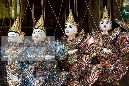 Puppets for sale, Bagan (Pagan), Myanmar (Burma), Asia