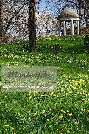 Temple of Aeolus in spring, Royal Botanic Gardens, Kew, UNESCO World Heritage Site, London, England, United Kingdom, Europe