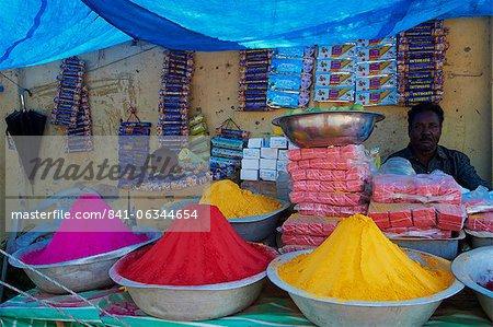 Coloured powders for sale, Channapatna village, Mysore, Karnataka, India, Asia