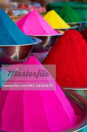 Coloured powders for sale, Devaraja market, Mysore, Karnataka, India, Asia