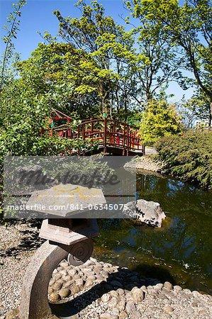 Japanese style garden on the Island at Peasholm Park, Scarborough, North Yorkshire, Yorkshire, England, United Kingdom, Europe
