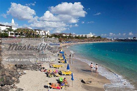 Beach view, Playa Blanca, Lanzarote, Canary Islands, Spain, Atlantic, Europe
